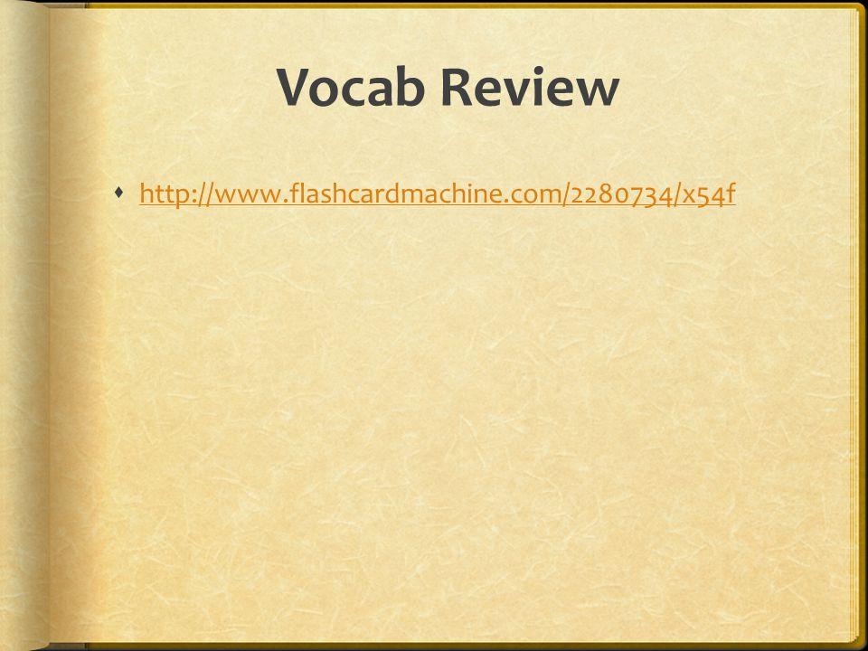 Vocab Review  http://www.flashcardmachine.com/2280734/x54f http://www.flashcardmachine.com/2280734/x54f