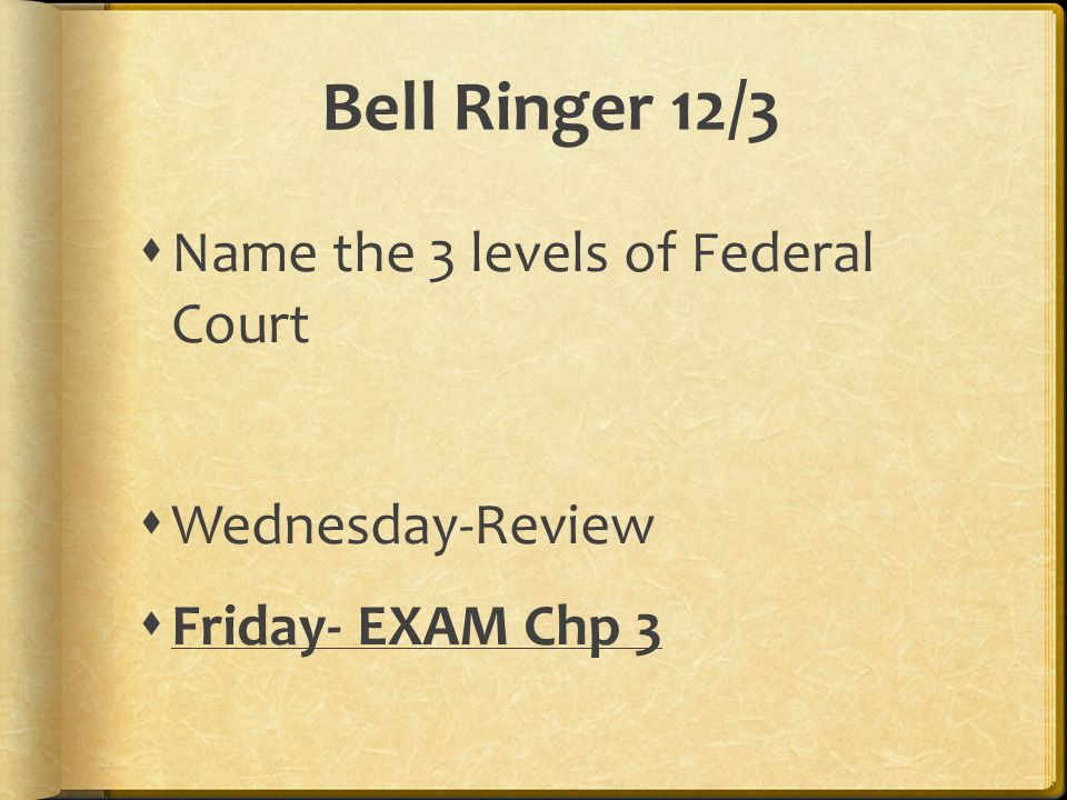 Bell Ringer 12/3  Name the 3 levels of Federal Court  Wednesday-Review  Friday- EXAM Chp 3