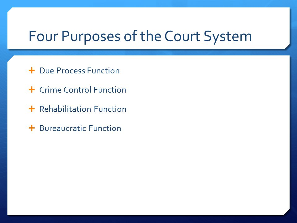 Four Purposes of the Court System  Due Process Function  Crime Control Function  Rehabilitation Function  Bureaucratic Function
