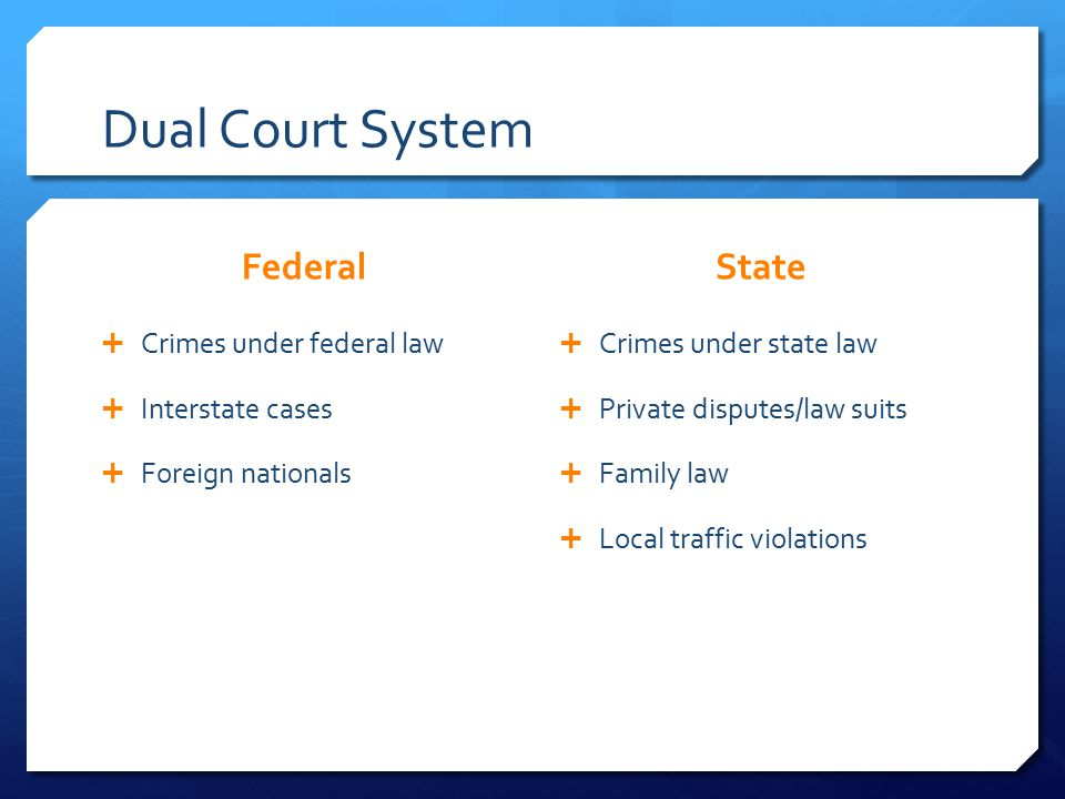 Dual Court System Federal  Crimes under federal law  Interstate cases  Foreign nationals State  Crimes under state law  Private disputes/law suits  Family law  Local traffic violations