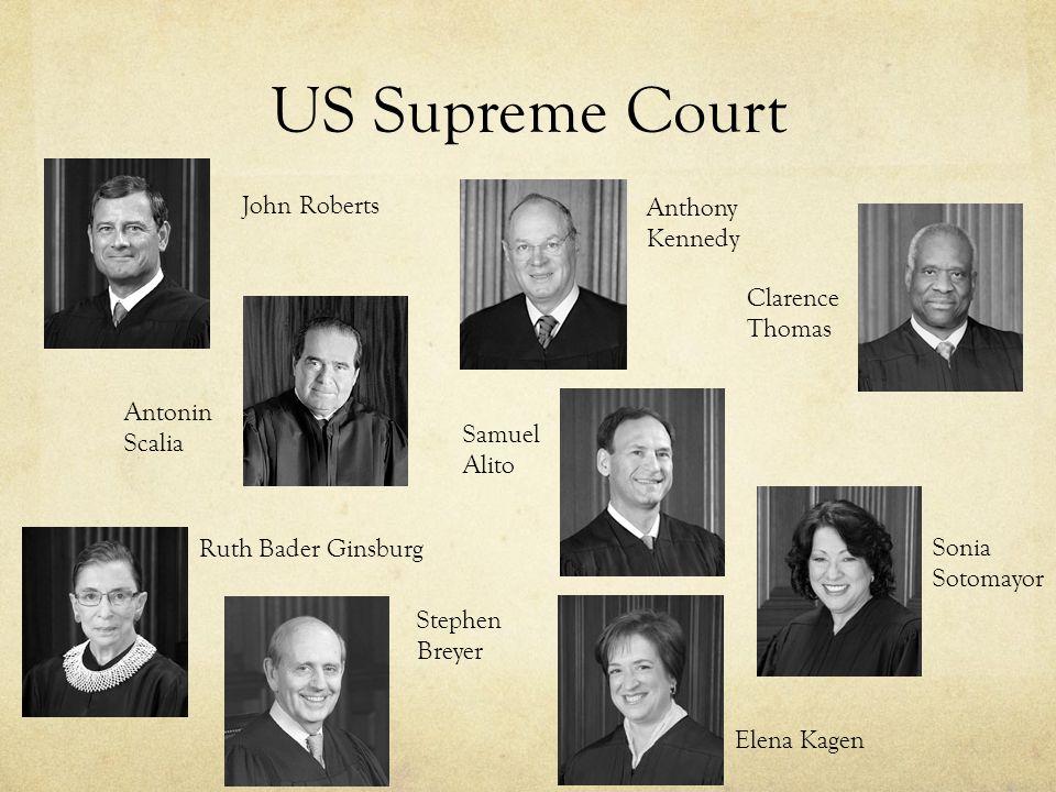 US Supreme Court John Roberts Antonin Scalia Anthony Kennedy Clarence Thomas Ruth Bader Ginsburg Stephen Breyer Samuel Alito Sonia Sotomayor Elena Kag