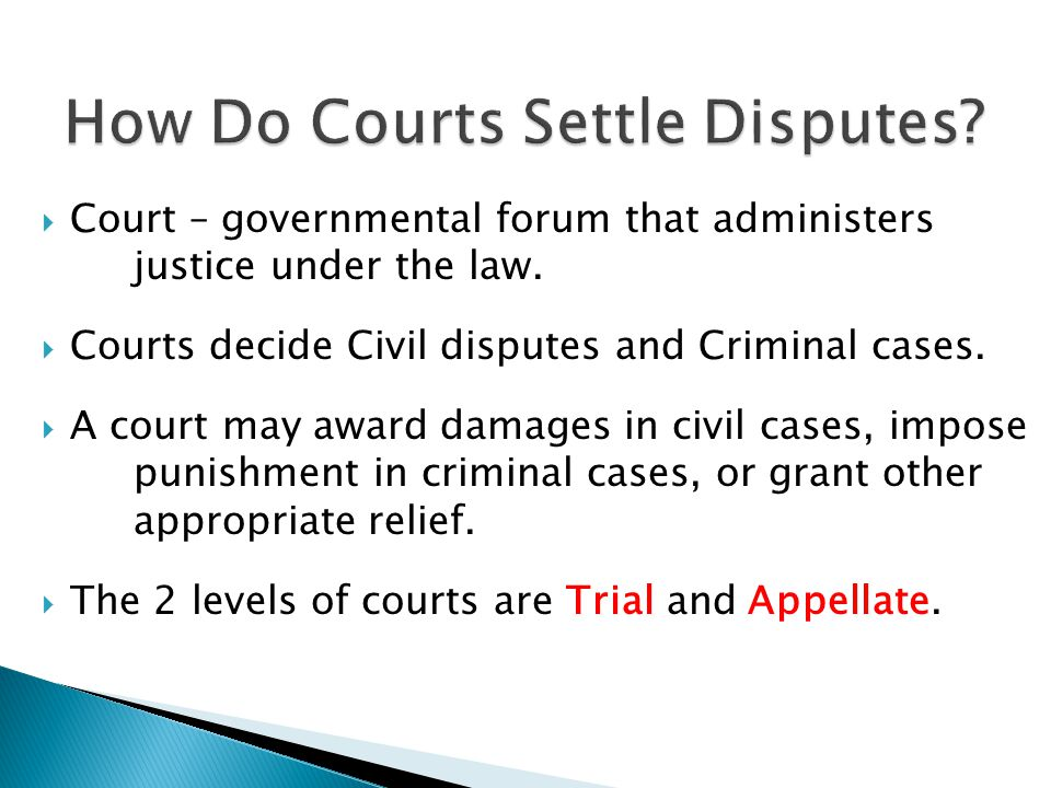  Court – governmental forum that administers justice under the law.