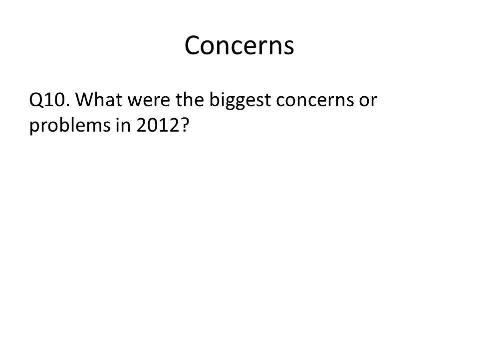 Concerns Q10. What were the biggest concerns or problems in 2012