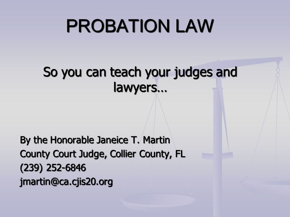 So you can teach your judges and lawyers… By the Honorable Janeice T. Martin County Court Judge, Collier County, FL (239) 252-6846 jmartin@ca.cjis20.o