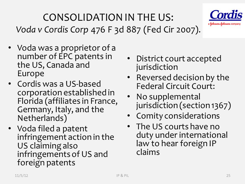 CONSOLIDATION IN THE US: Voda v Cordis Corp 476 F 3d 887 (Fed Cir 2007).