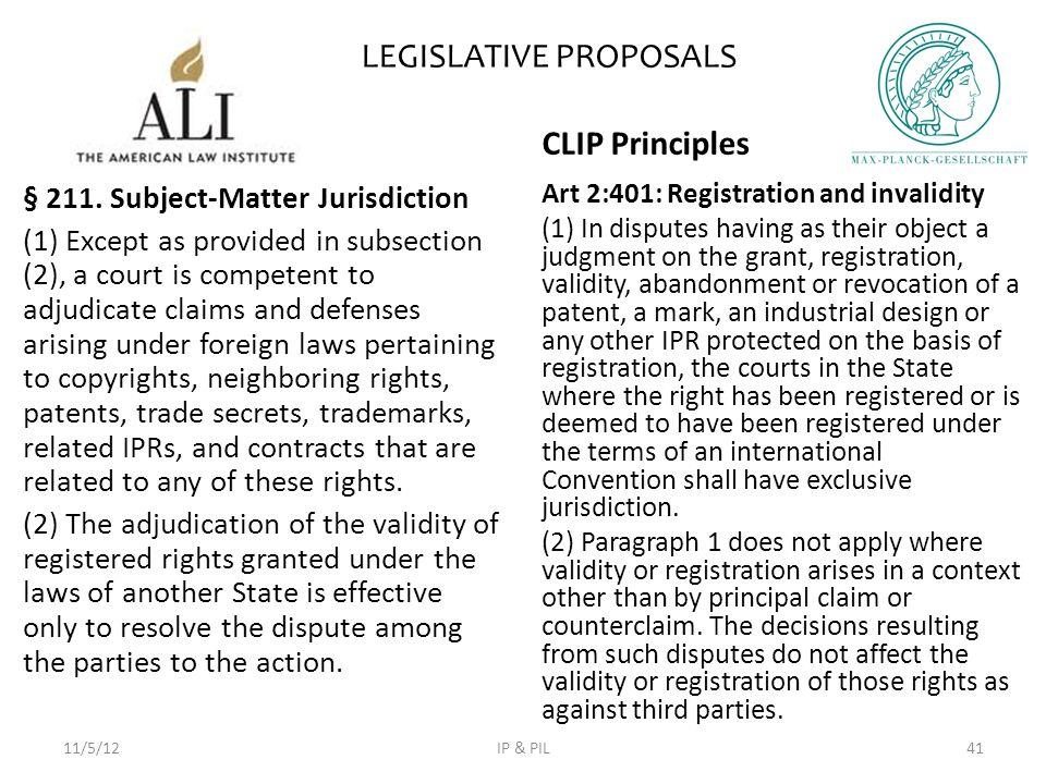 LEGISLATIVE PROPOSALS § 211.