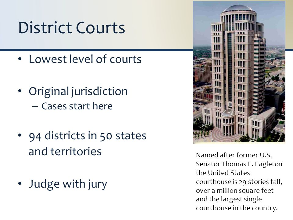 District Courts Lowest level of courts Original jurisdiction – Cases start here 94 districts in 50 states and territories Judge with jury Named after former U.S.