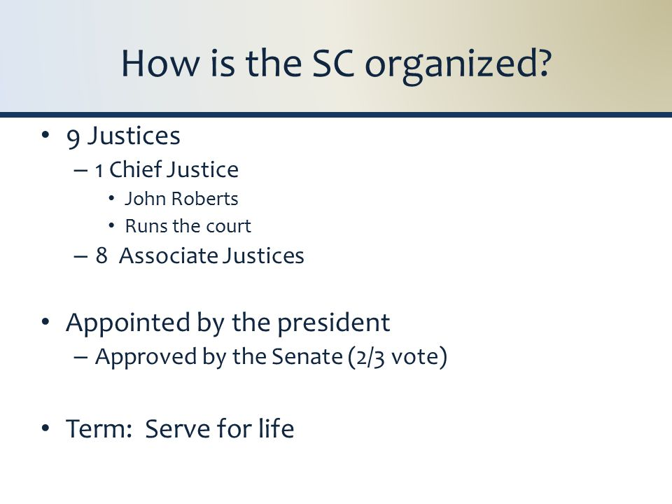 How is the SC organized.