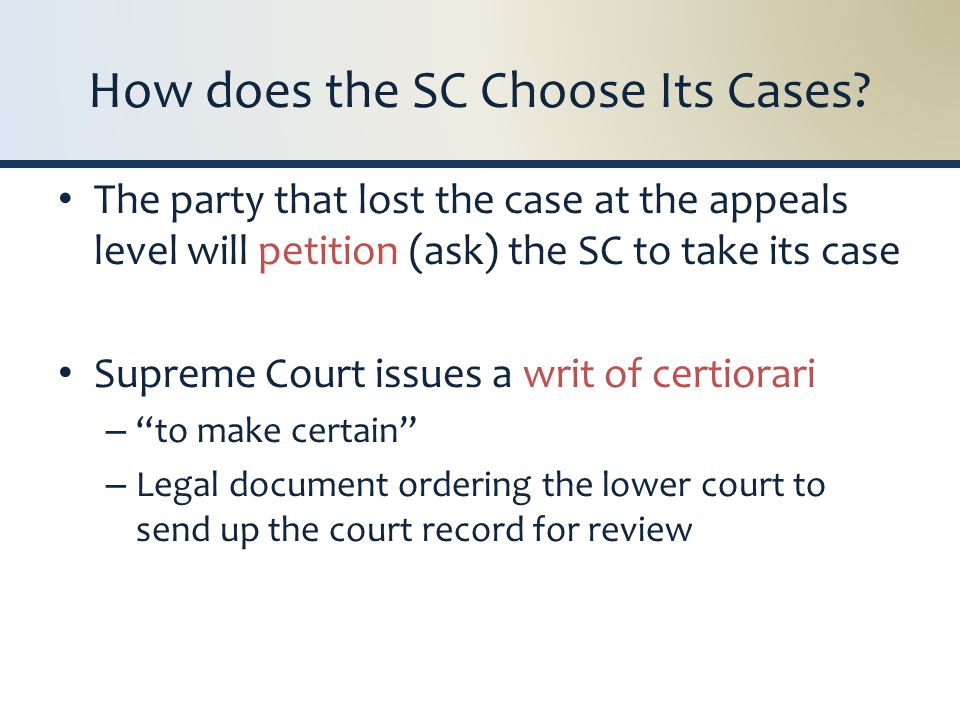 How does the SC Choose Its Cases.