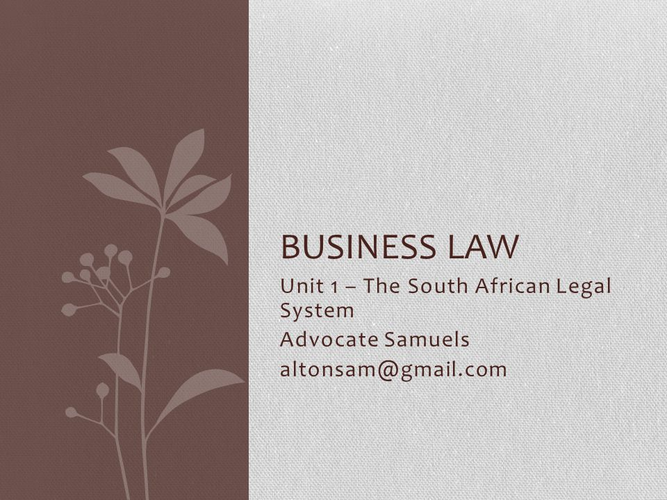 Unit 1 – The South African Legal System Advocate Samuels altonsam@gmail.com BUSINESS LAW