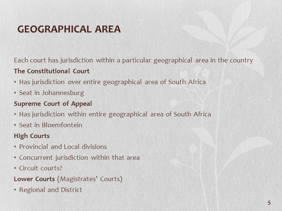 GEOGRAPHICAL AREA Each court has jurisdiction within a particular geographical area in the country The Constitutional Court Has jurisdiction over enti