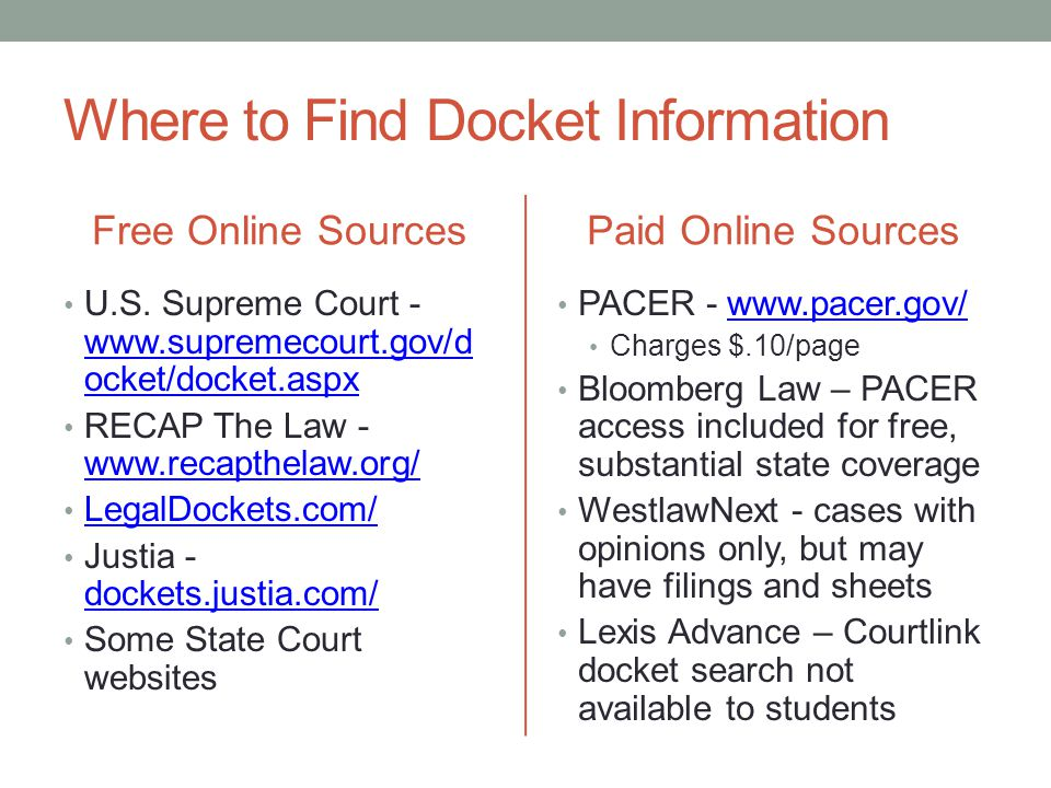 Where to Find Docket Information Free Online Sources U.S. Supreme Court - www.supremecourt.gov/d ocket/docket.aspx www.supremecourt.gov/d ocket/docket