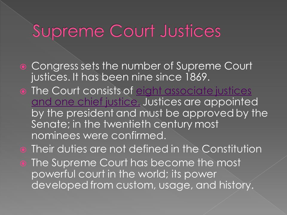  Congress sets the number of Supreme Court justices.