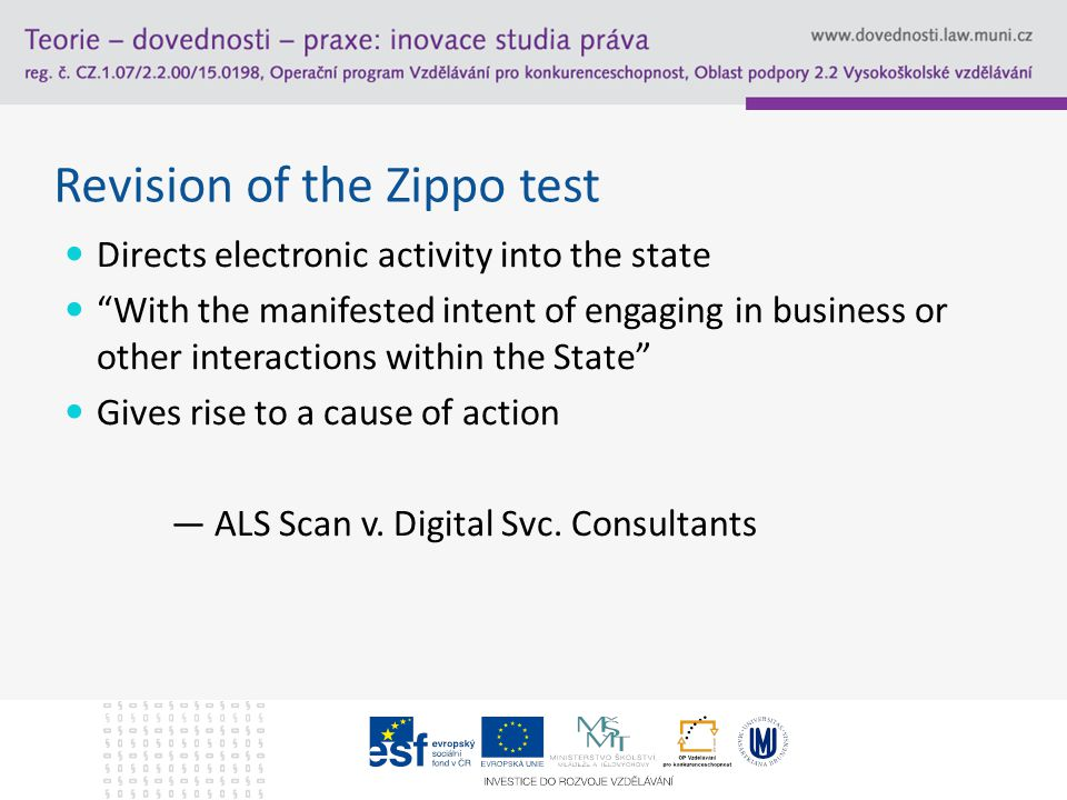 Revision of the Zippo test Directs electronic activity into the state With the manifested intent of engaging in business or other interactions within the State Gives rise to a cause of action — ALS Scan v.