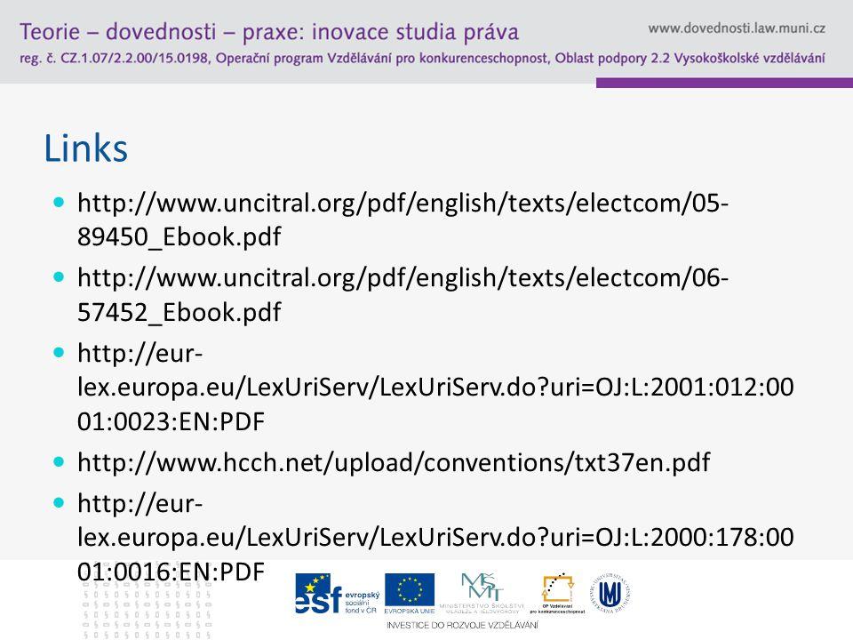 Links http://www.uncitral.org/pdf/english/texts/electcom/05- 89450_Ebook.pdf http://www.uncitral.org/pdf/english/texts/electcom/06- 57452_Ebook.pdf http://eur- lex.europa.eu/LexUriServ/LexUriServ.do uri=OJ:L:2001:012:00 01:0023:EN:PDF http://www.hcch.net/upload/conventions/txt37en.pdf http://eur- lex.europa.eu/LexUriServ/LexUriServ.do uri=OJ:L:2000:178:00 01:0016:EN:PDF