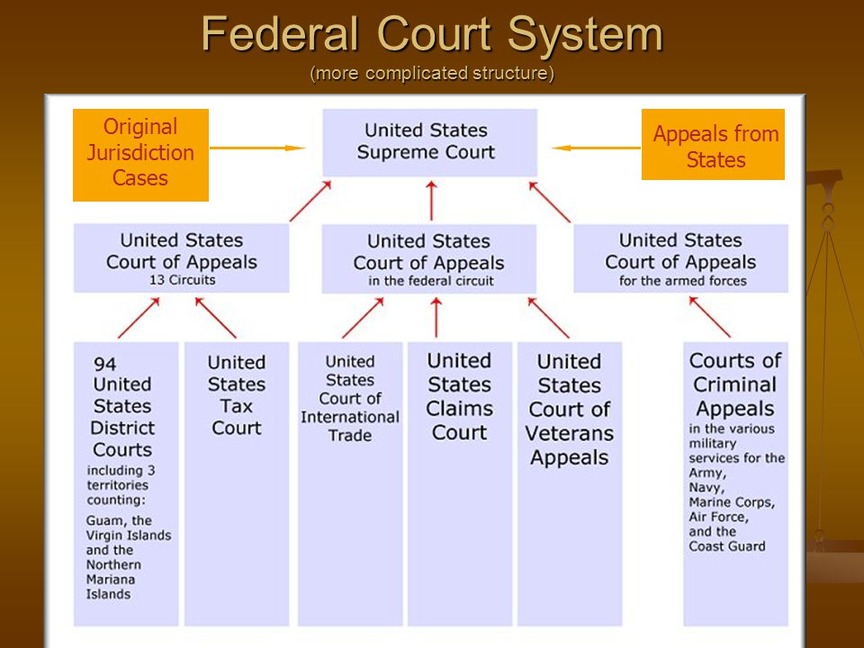 Federal Court System (more complicated structure) Original Jurisdiction Cases Appeals from States