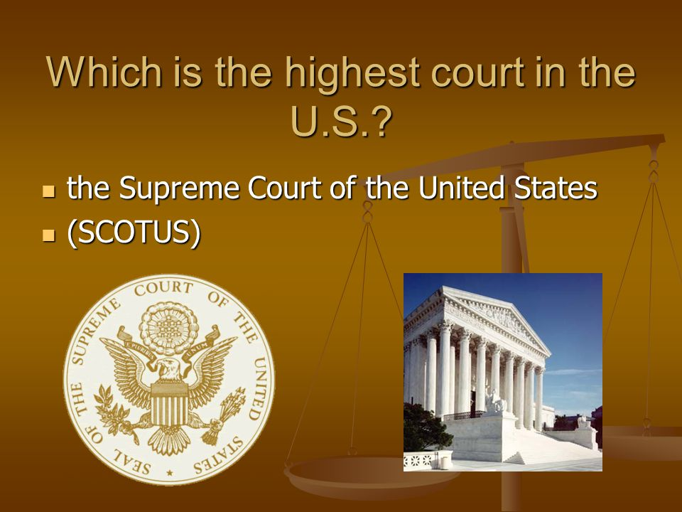 Which is the highest court in the U.S.? the Supreme Court of the United States the Supreme Court of the United States (SCOTUS) (SCOTUS)