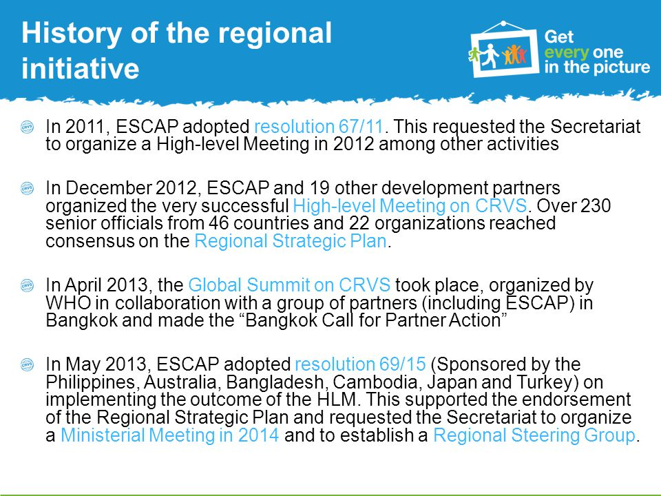 History of the regional initiative In 2011, ESCAP adopted resolution 67/11.