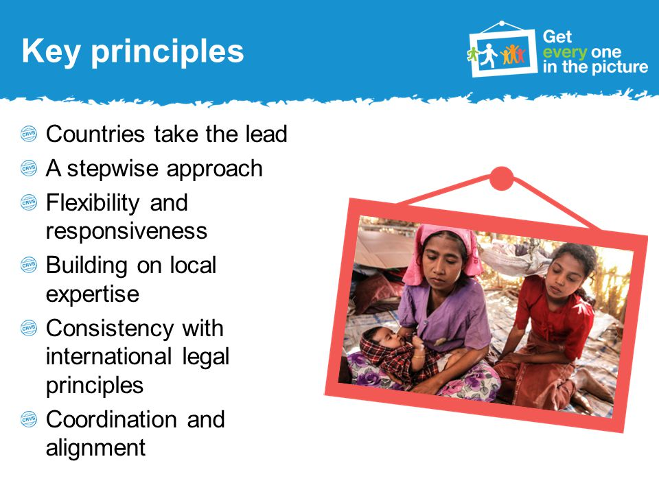 Goals Goal 1: Universal civil registration of births and deaths Goal 2: All individuals are provided with legal documentation to claim identity, civil status and ensuing rights Goal 3: Accurate, complete and timely vital statistics (including causes of death) are produced based on registration records