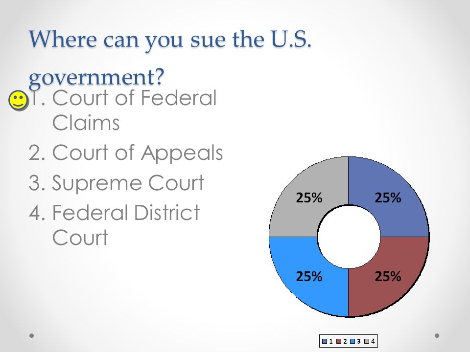 Where can you sue the U.S. government? 1.Court of Federal Claims 2.Court of Appeals 3.Supreme Court 4.Federal District Court