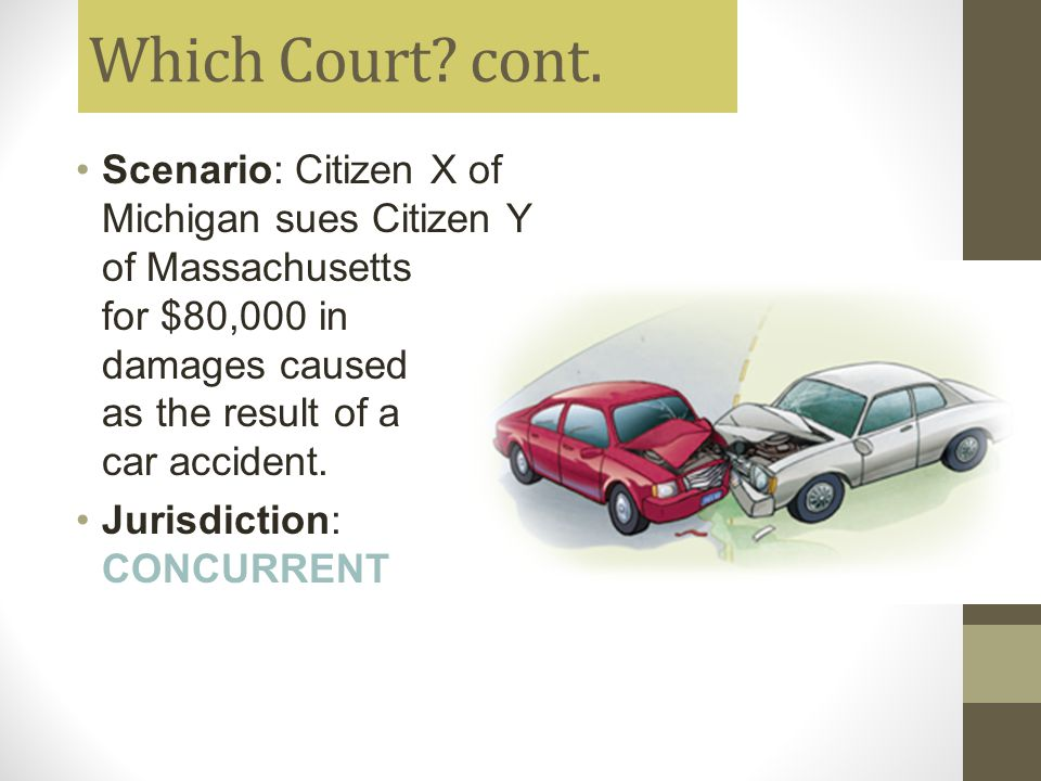 Which Court? cont. Scenario: Citizen X of Michigan sues Citizen Y of Massachusetts for $80,000 in damages caused as the result of a car accident. Juri