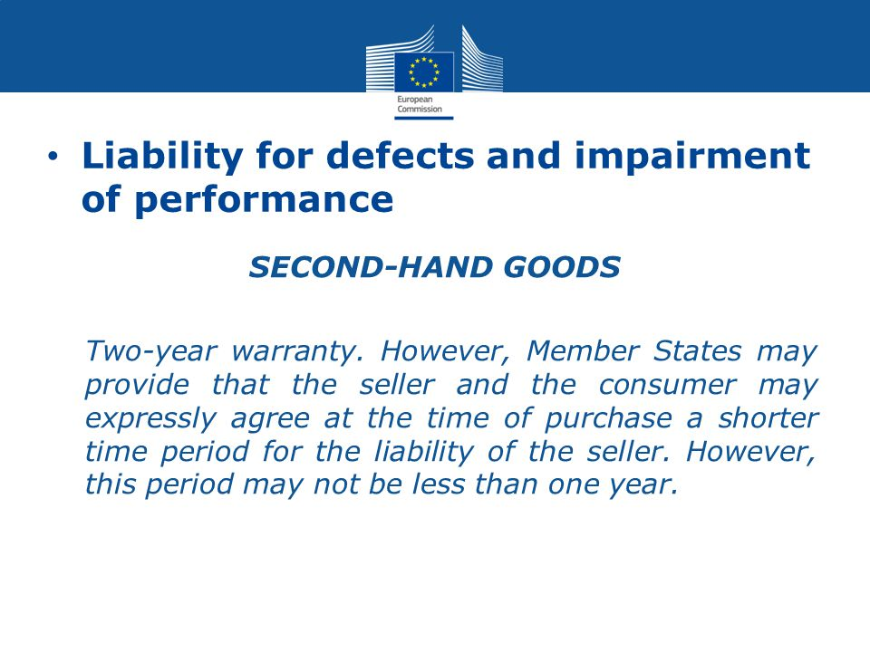 Liability for defects and impairment of performance SECOND-HAND GOODS Two-year warranty.