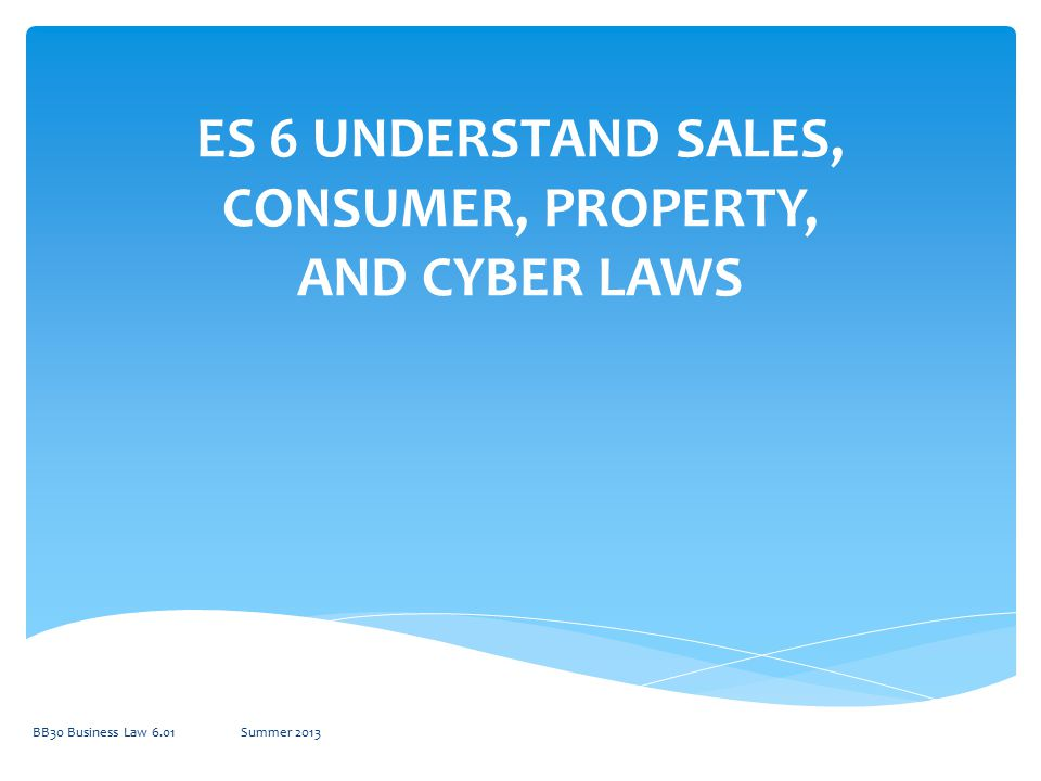 6.01 Understand sales law BB30 Business Law 6.01Summer 2013