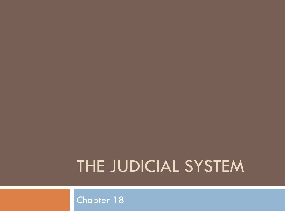 THE JUDICIAL SYSTEM Chapter 18