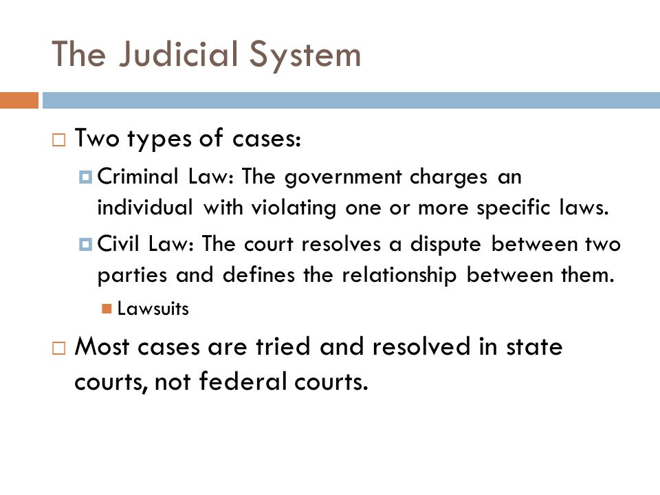 The Judicial System  Two types of cases:  Criminal Law: The government charges an individual with violating one or more specific laws.