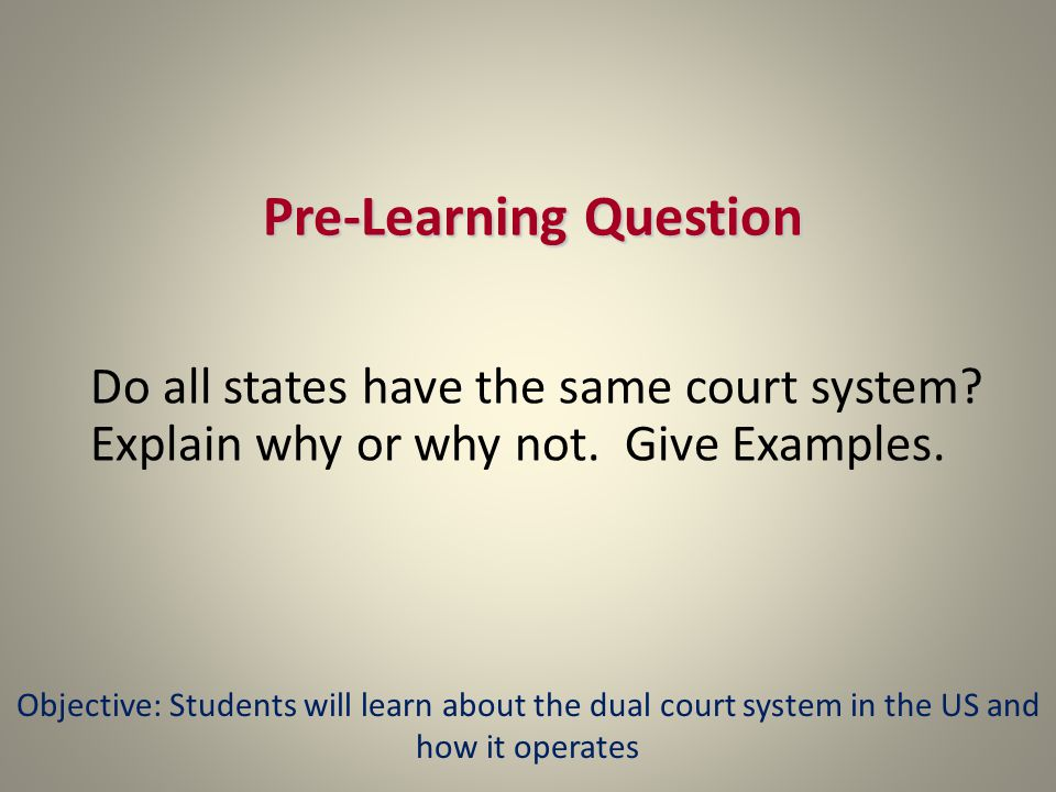 Pre-Learning Question Do all states have the same court system.