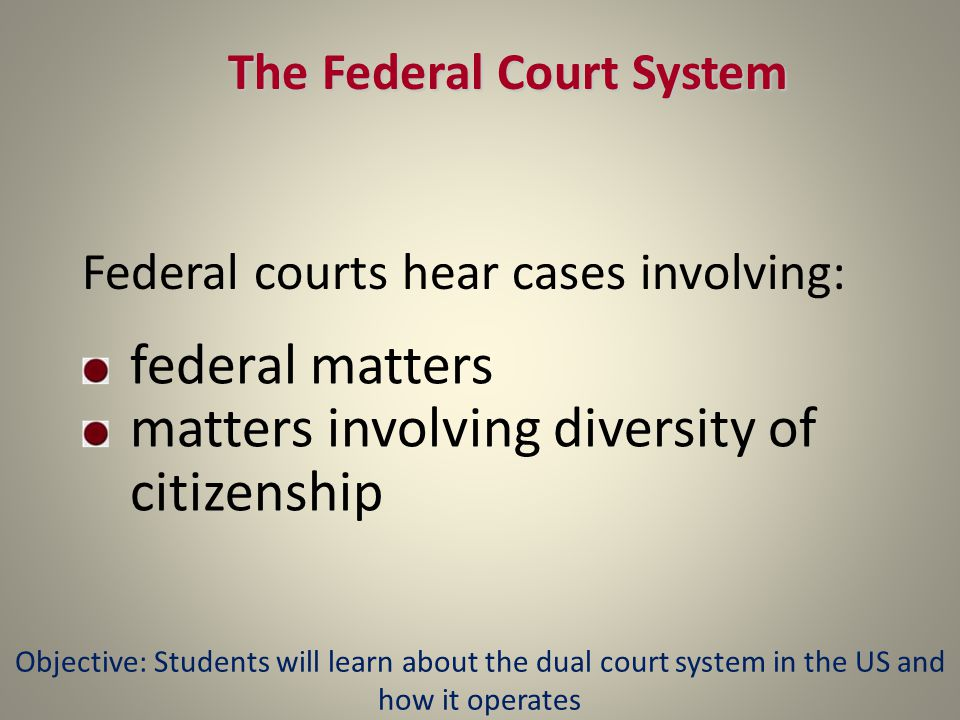 The Federal Court System Federal courts hear cases involving: federal matters matters involving diversity of citizenship Objective: Students will learn about the dual court system in the US and how it operates
