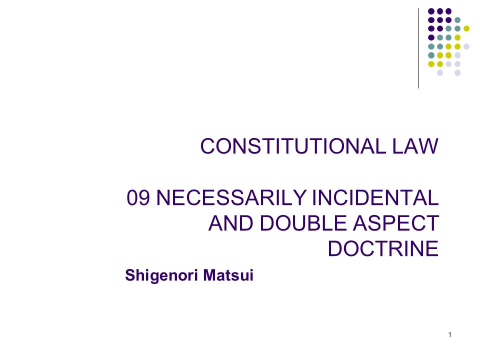 1 1 CONSTITUTIONAL LAW 09 NECESSARILY INCIDENTAL AND DOUBLE ASPECT DOCTRINE Shigenori Matsui