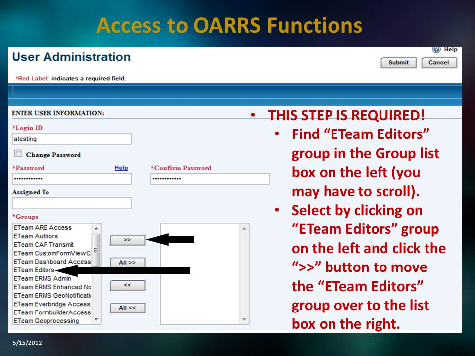 """THIS STEP IS REQUIRED! Find """"ETeam Editors"""" group in the Group list box on the left (you may have to scroll). Select by clicking on """"ETeam Editors"""" gr"""