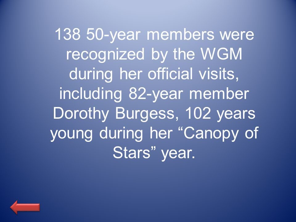 138 50-year members were recognized by the WGM during her official visits, including 82-year member Dorothy Burgess, 102 years young during her Canopy of Stars year.