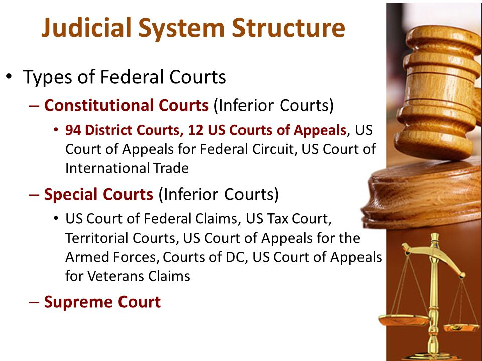 Judicial System Structure Types of Federal Courts – Constitutional Courts (Inferior Courts) 94 District Courts, 12 US Courts of Appeals, US Court of A