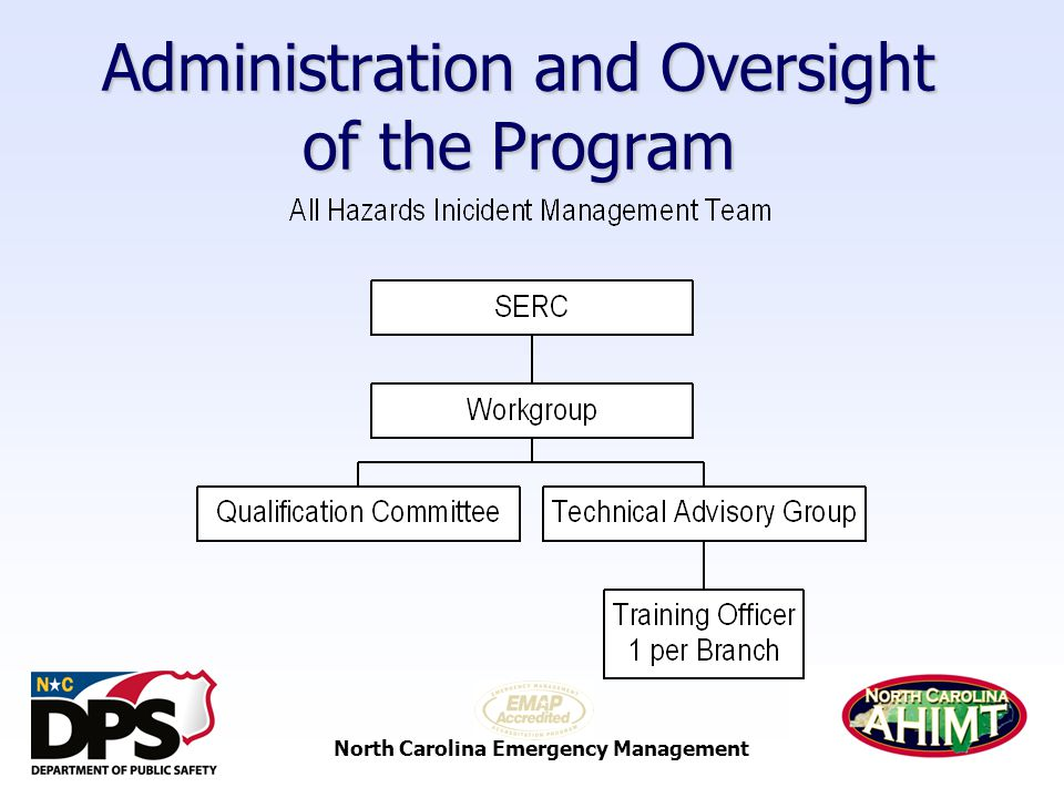 North Carolina Emergency Management The Way Forward (Cont.)  Position Task Books (PTB) will be used for all Command & General Staff and Unit Leader Positions, the term current will be used in all guides to allow transition to the national PTBs when they are approved
