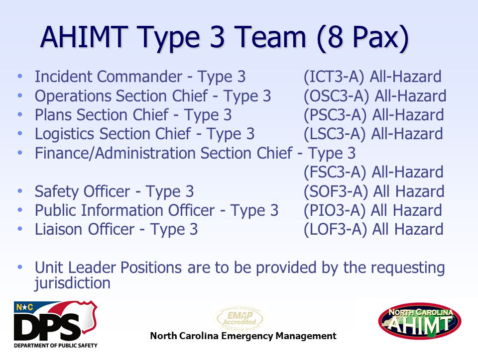 North Carolina Emergency Management AHIMT Type 3 Team (8 Pax) Incident Commander - Type 3 (ICT3-A) All-Hazard Operations Section Chief - Type 3 (OSC3-A) All-Hazard Plans Section Chief - Type 3 (PSC3-A) All-Hazard Logistics Section Chief - Type 3 (LSC3-A) All-Hazard Finance/Administration Section Chief - Type 3 (FSC3-A) All-Hazard Safety Officer - Type 3 (SOF3-A) All Hazard Public Information Officer - Type 3 (PIO3-A) All Hazard Liaison Officer - Type 3 (LOF3-A) All Hazard Unit Leader Positions are to be provided by the requesting jurisdiction