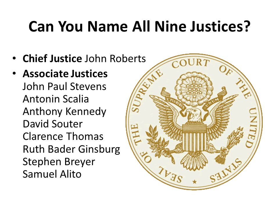 Chief Justice John Roberts Associate Justices John Paul Stevens Antonin Scalia Anthony Kennedy David Souter Clarence Thomas Ruth Bader Ginsburg Stephe