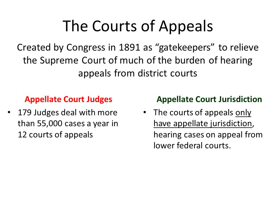 The Courts of Appeals Appellate Court Judges 179 Judges deal with more than 55,000 cases a year in 12 courts of appeals Appellate Court Jurisdiction T