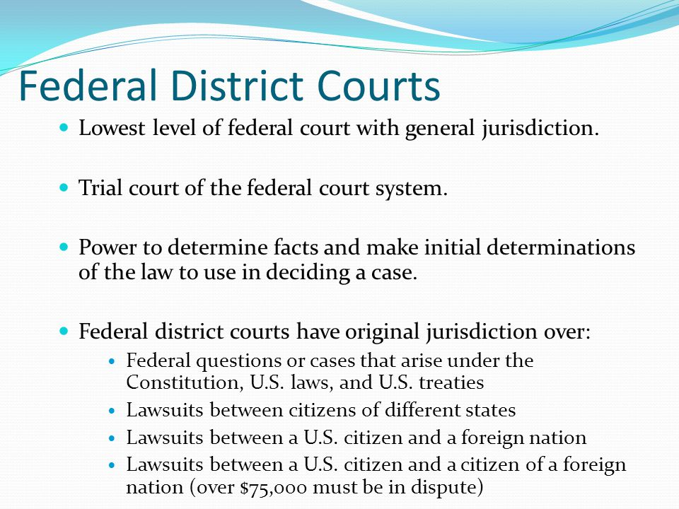 Federal District Courts Lowest level of federal court with general jurisdiction.