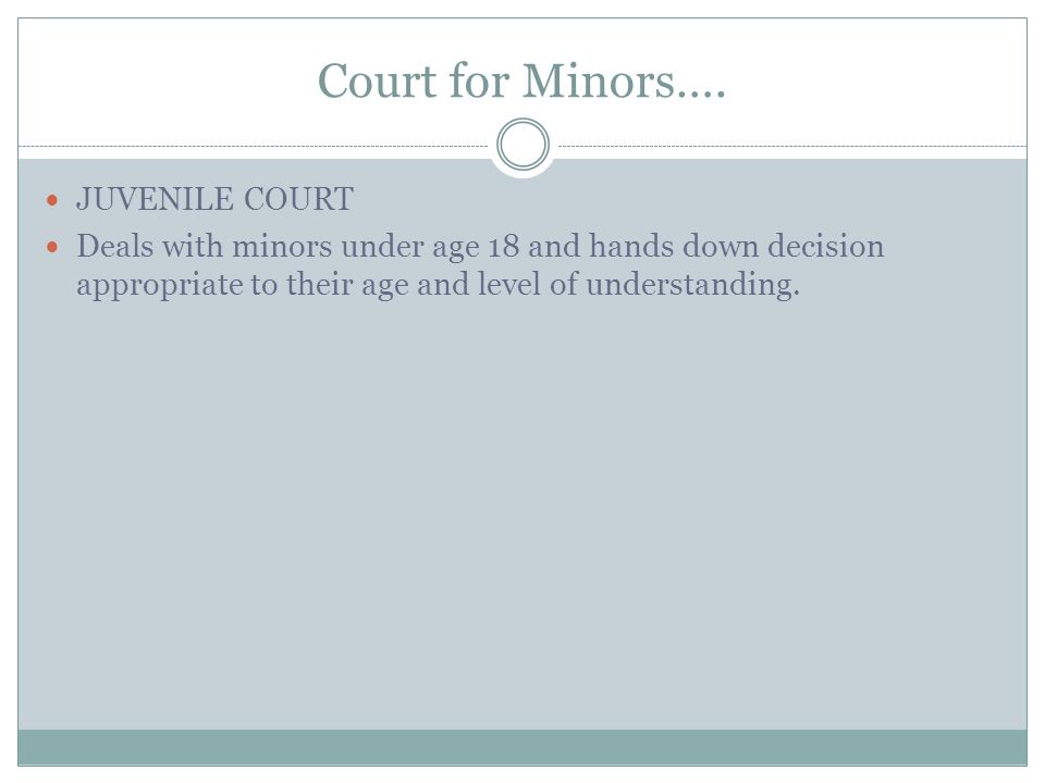Courts for Minors What kind of court would a teenager have to appear in if he or she commits an offense? Why would such a court created?