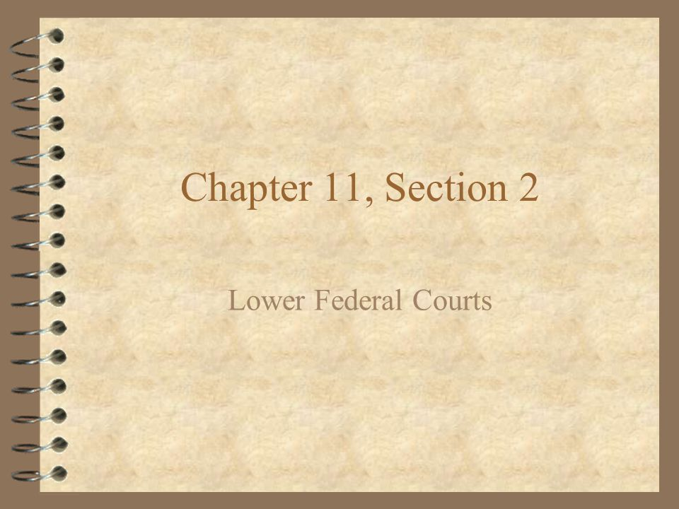 Chapter 11, Section 2 Lower Federal Courts