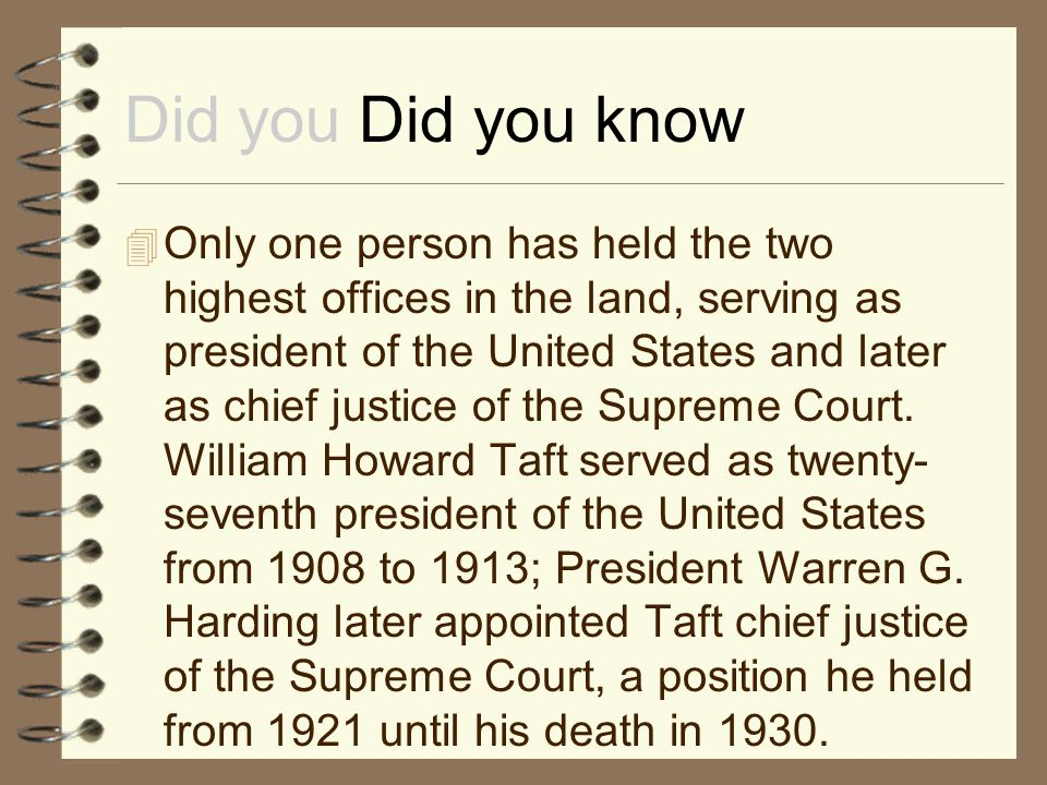 Did you Did you know  Only one person has held the two highest offices in the land, serving as president of the United States and later as chief just