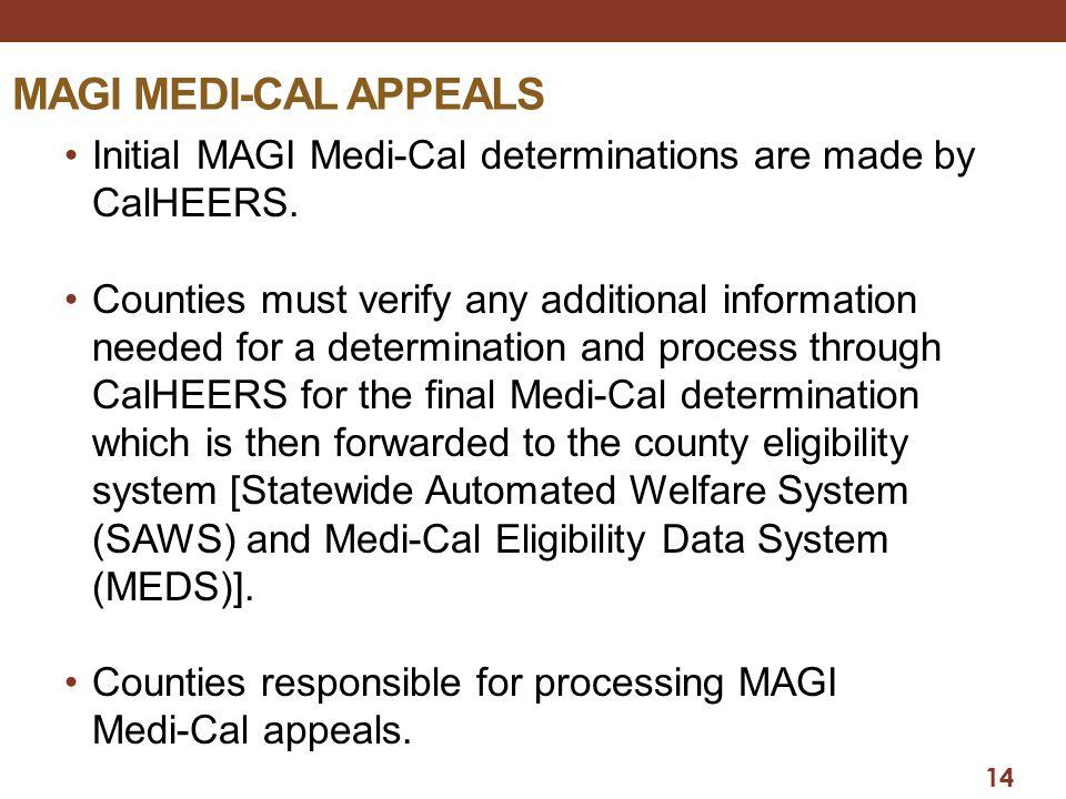 14 MAGI MEDI-CAL APPEALS Initial MAGI Medi-Cal determinations are made by CalHEERS.