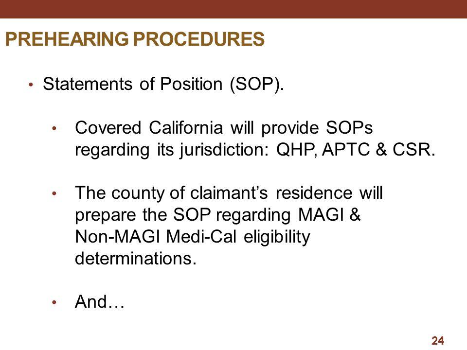 PREHEARING PROCEDURES Statements of Position (SOP).