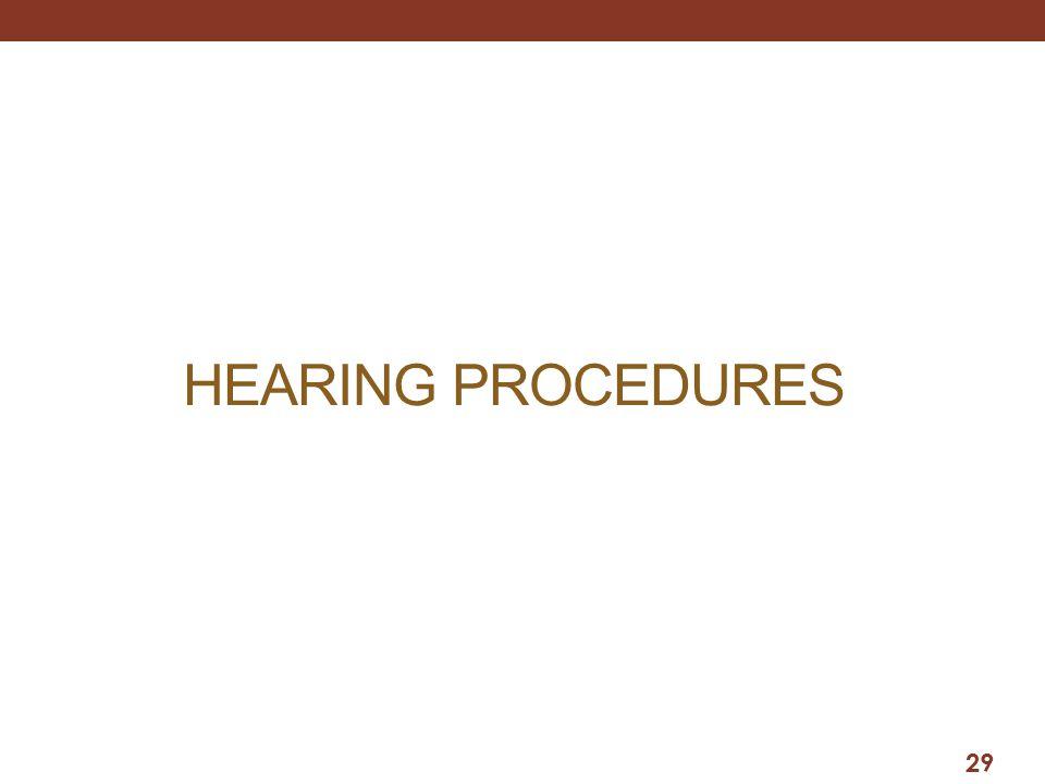 HEARING PROCEDURES 29