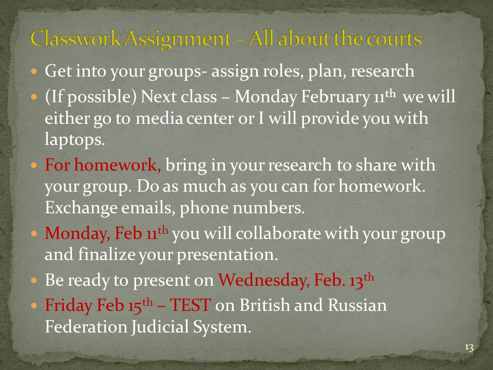 Get into your groups- assign roles, plan, research (If possible) Next class – Monday February 11 th we will either go to media center or I will provid
