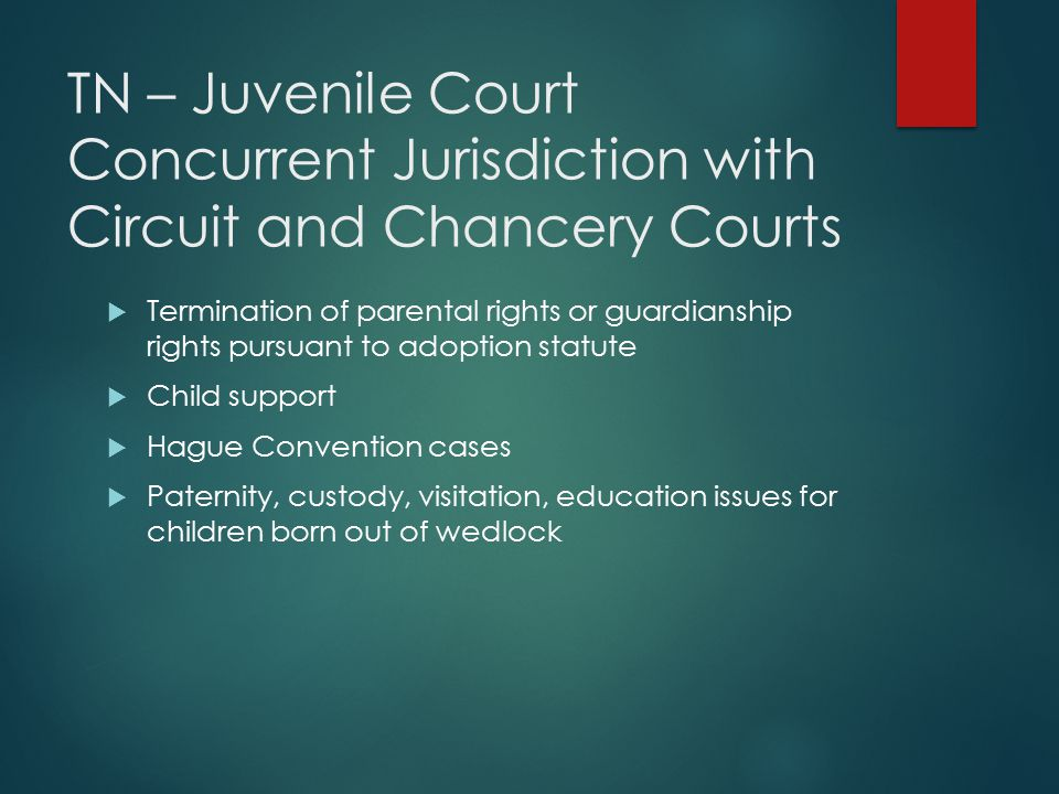 TN – Juvenile Court Concurrent Jurisdiction with Circuit and Chancery Courts  Termination of parental rights or guardianship rights pursuant to adopt
