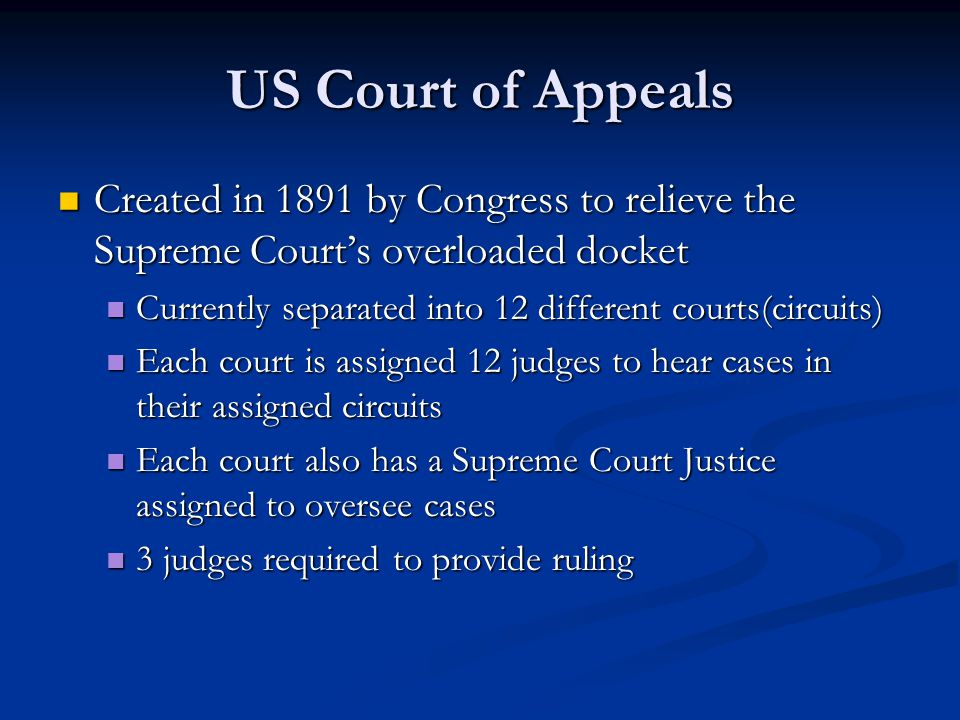 US Court of Appeals Created in 1891 by Congress to relieve the Supreme Court's overloaded docket Created in 1891 by Congress to relieve the Supreme Co