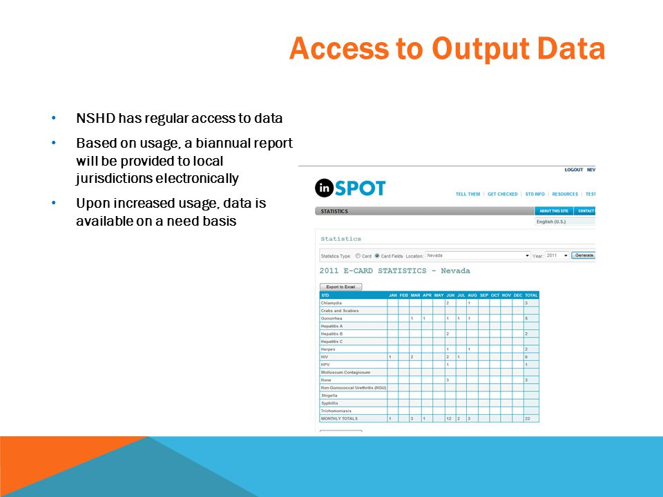 Access to Output Data NSHD has regular access to data Based on usage, a biannual report will be provided to local jurisdictions electronically Upon in